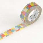 Masking tape mosaique multicolore tons vifs