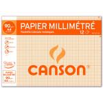Papier millimétré Canson 90g pochette de 12 feuilles A4 bistre