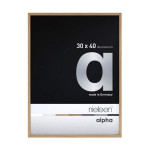 Cadre en aluminium Alpha plaqué bois teinte chêne - 24 x 30 cm