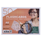 Paquet de 50 Flashcards sous film + anneau Bristol ligné perforé A6